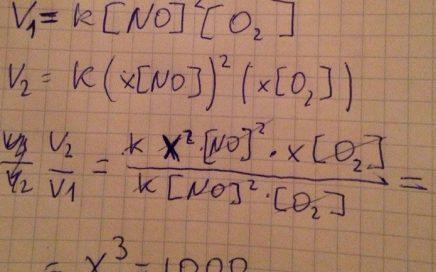 Во сколько раз нужно увеличить давление в системе, чтобы скорость образования NO2 по реакции 2NO+O2=2NO2 возросла в 1000 раз?