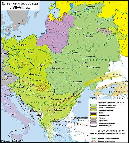 карта восточных славян