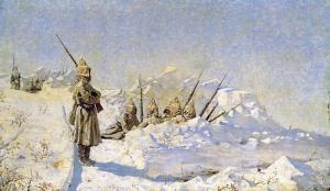 Василий Васильевич Верещагин. Снежные траншеи (Русские позиции на Шипкинском перевале).