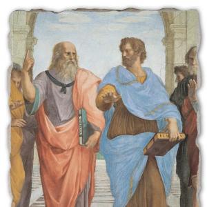 Рафаэль Санти. Афинская школа. Фрагмент: Платон (слева) и Аристотель.