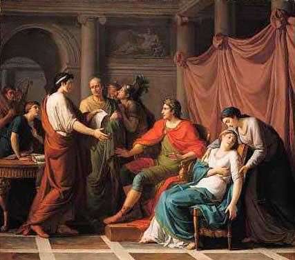 Вергилий читает «Энеиду» Августу и Октавии (Ж. Ж. Тайяссона, 1787 г.)